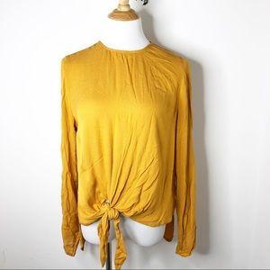 Zara Mustard Yellow Front Tie Long Sleeve Top
